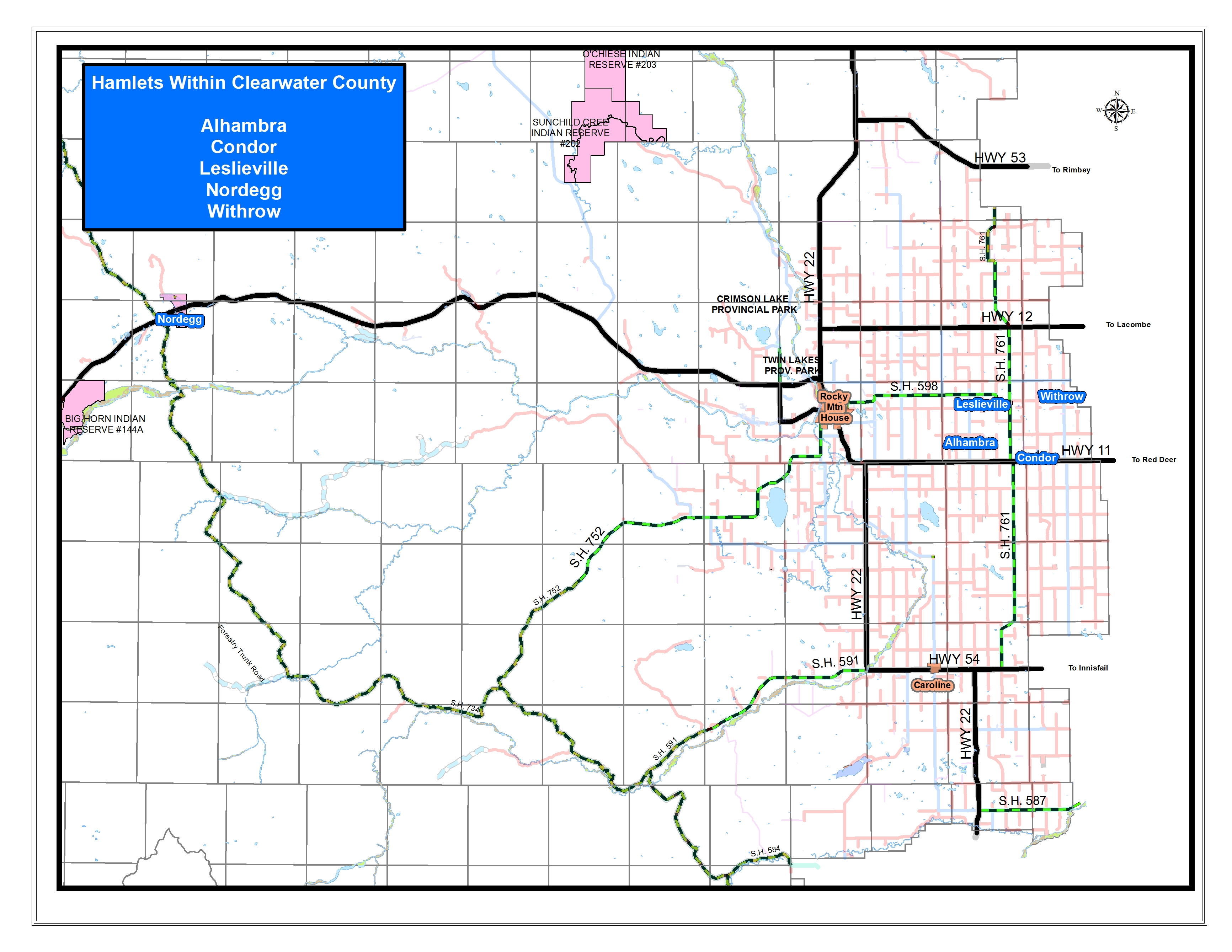 Clearwater County - Hamlets on